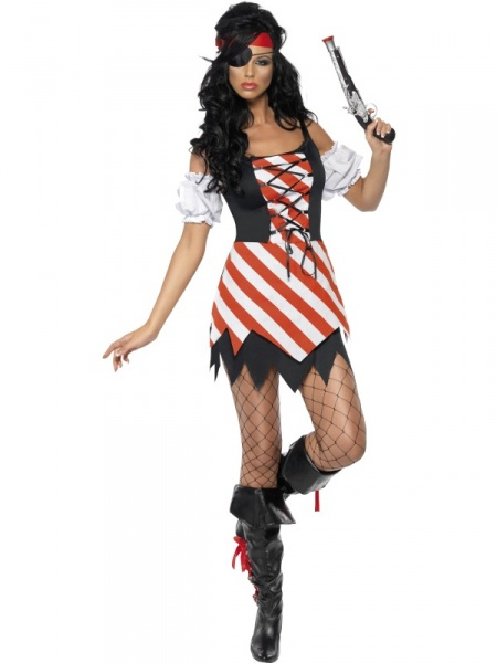 Fever lady pirate costume dress with lace up front sleeves eyepatch