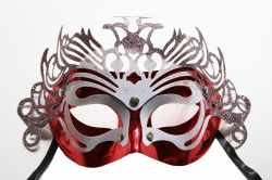 Dragon Mask-Red With Silver Decoration