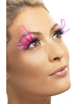 Eyelashes With Pink Feathers