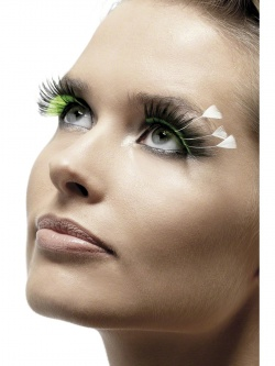 Black Eyelashes with Green Inserts and White Feather Plums