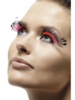 Black Eyelashes with Pink Inserts and Black Feather Plums
