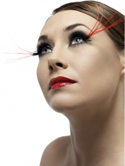 Eyelashes with Very Long Red Corner Plumes