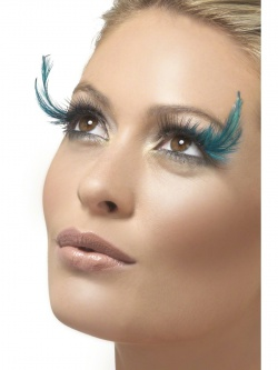 Black Eyelashes with Blue Feather Plumes