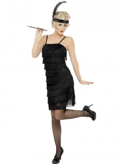 Fringe Flapper Costume - Black