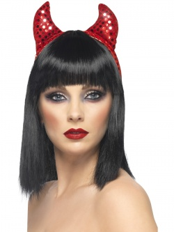 Sequined Devil Horns - Red