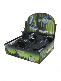 Large Vampire Bat, Black, on Elastic, PVC