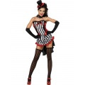 Fever Madame Vampire Costume, Black, White and Red with Skirt, Top and Hat