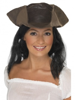 Leather Look Pirate Hat Brown with Black Hair