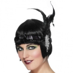 Black Satin Charleston Headband with Feather and Jewel Detail