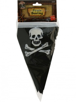 Pirate Flag Bunting Black and White