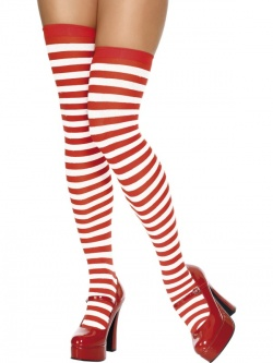 Thigh High Stockings Red and White