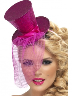 Fever Hostess Mini Top Hat on Headband-Pink