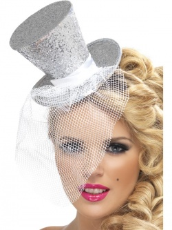 Fever Hostess Mini Top Hat on Headband-Silver